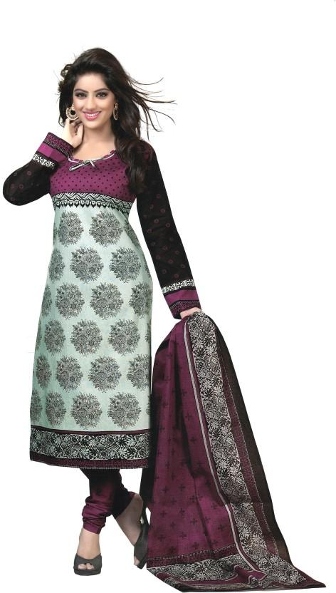Reya Cotton Printed, Solid Dress/Top Material