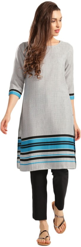 Anouk Checkered Women Straight Kurta