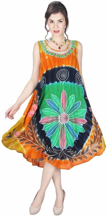 Kids Mandi Women A-line Orange Dress