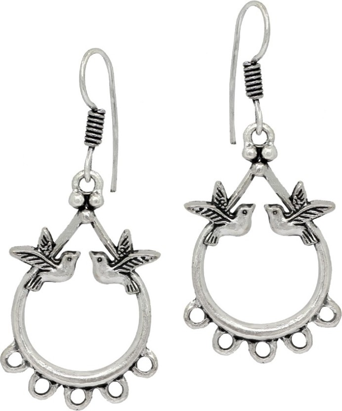 Jaipur Mart Oxidised Rajasthani Silver Plated Birds Design Traditional Alloy Dangle Earring