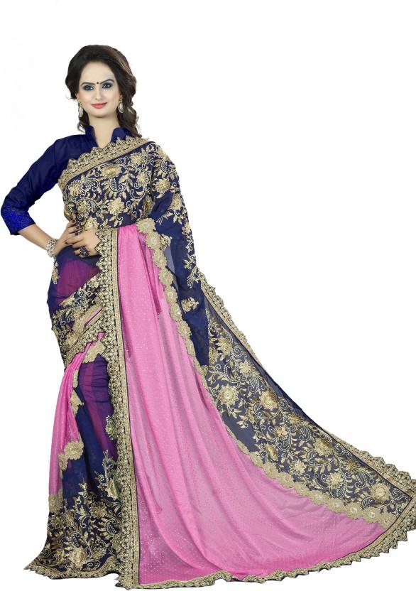 Sanku Fashion Embroidered, Self Design Fashion Georgette, Velvet, Net Saree