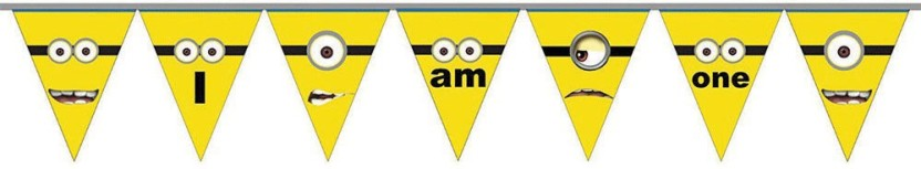 PARTY PROPZ MINION BIRTHDAY DECORATION / AGE BUNTING ONE / MINION PARTY SUPPLIES Pennant Banner
