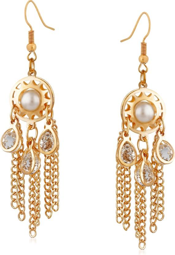 VK Jewels Three Rain Drop Pearl Alloy Drop Earring