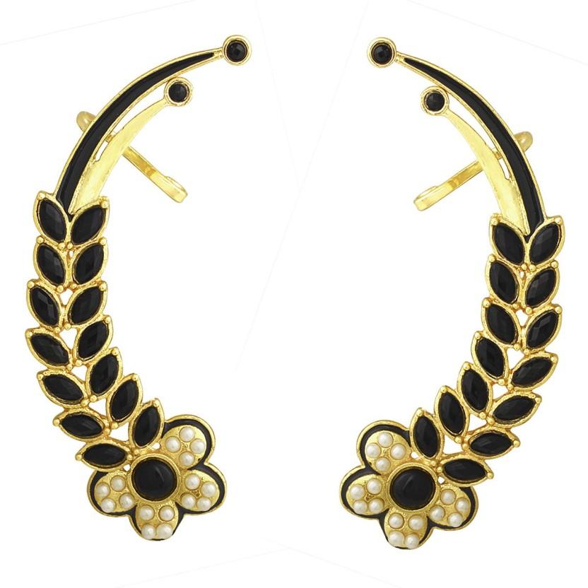 Muchmore Gorgeous Silver Plated American Diamond Fancy Party Wear Ear Cuffs Earrings Alloy Dangle Earring