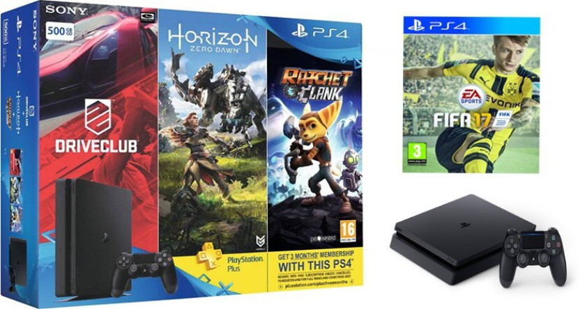 Sony PS4 Slim 500 GB with FIFA 17,Horizon Zero Dawn,Drive Club and Ratchet & Clank (Limited Edition)