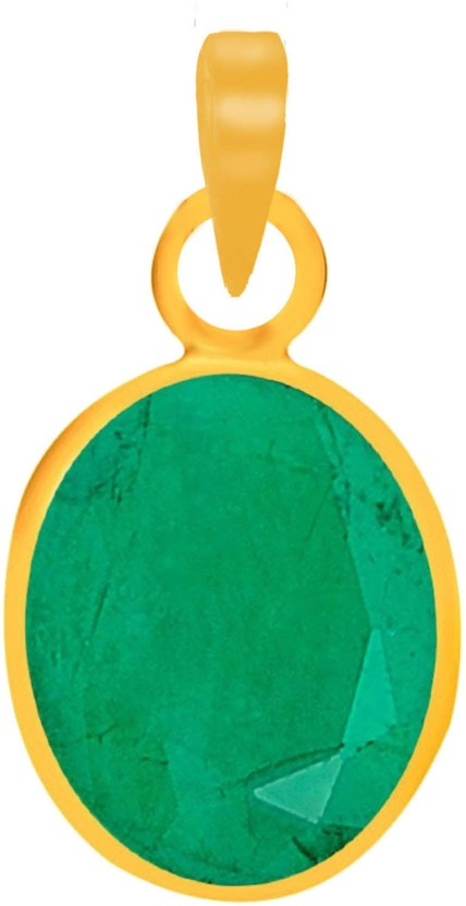 Freedom Certified Natural Emerald (Panna) Pendant 5.25 Ratti or 4.73 Carat for Male & Female Panchdhatu 22K Gold Plated Alloy Pendant