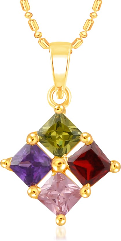 VK Jewels Stone Flower 18K Yellow Gold Cubic Zirconia Alloy Pendant