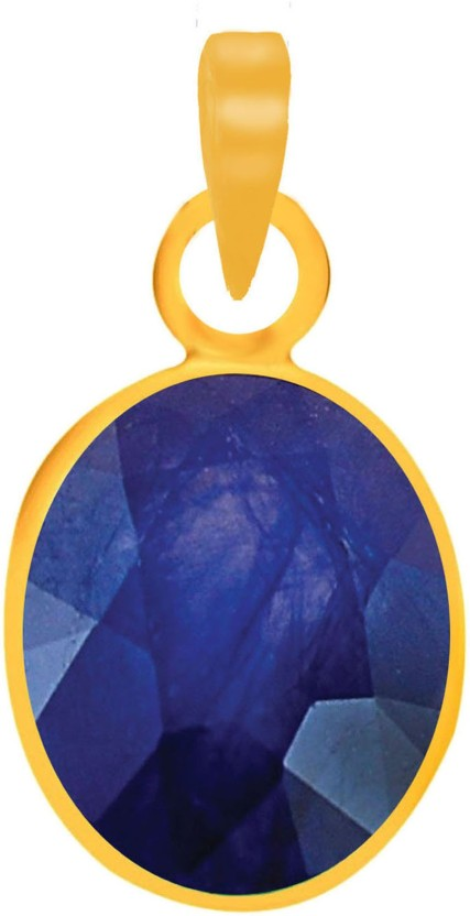 Freedom Certified Natural Blue Sapphire (Neelam) Pendant 5.25 Ratti or 4.66 Carat for Male & Female Panchdhatu 22K Gold Plated Alloy Pendant