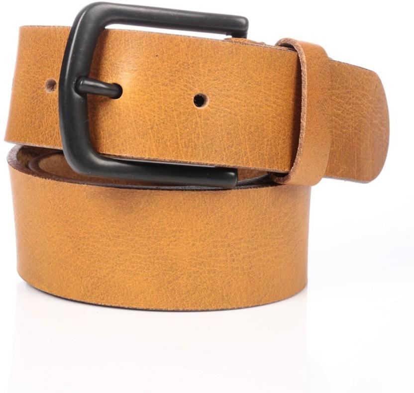 RLE Men Casual Tan Genuine Leather Belt