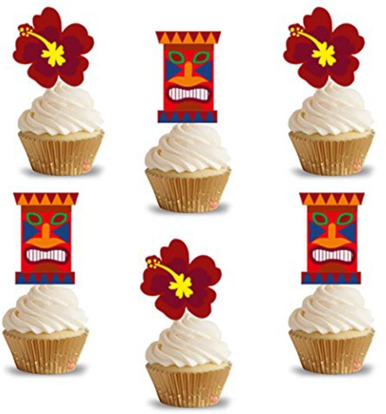 PARTY PROPZ HAWAIIAN CUP CAKE TOPPERS 14 PCS/ HAWAIIAN BIRTHDAY DECORATION/ HAWAIIAN PARTY SUPPLIES - 14 g
