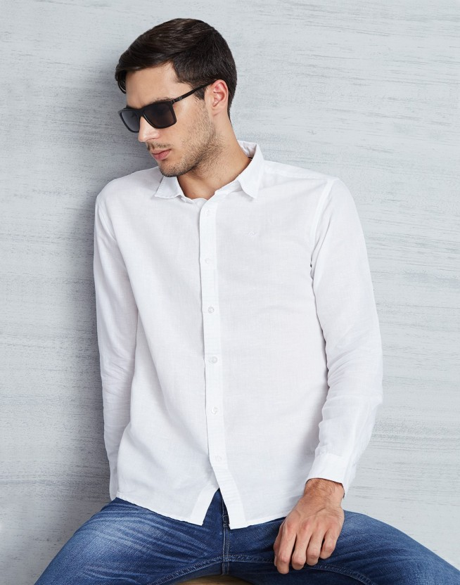 Metronaut Men Solid Casual White Shirt
