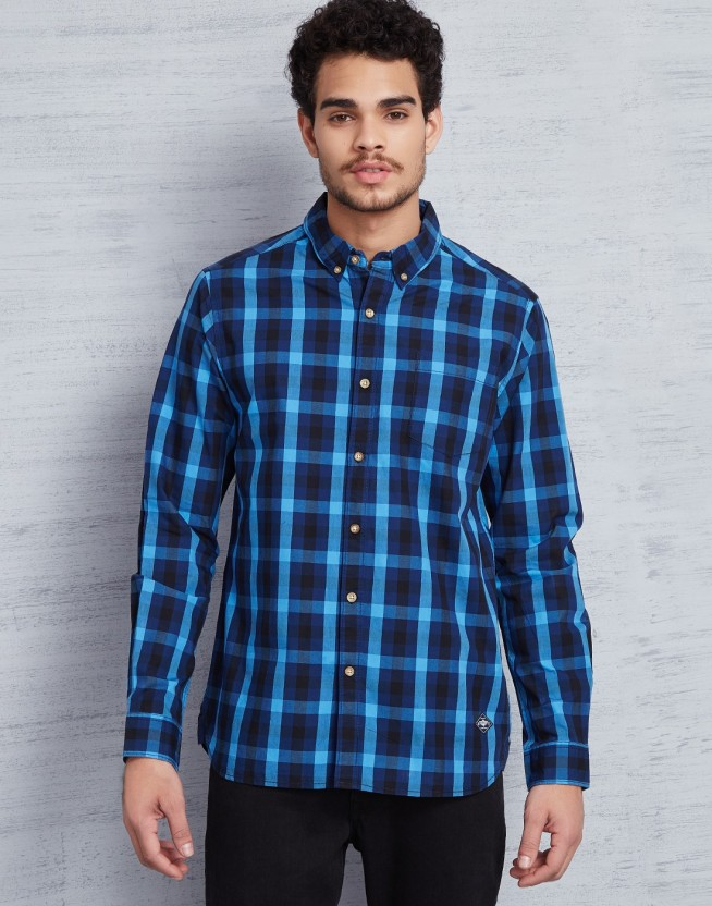 Metronaut Men Checkered Casual Blue Shirt