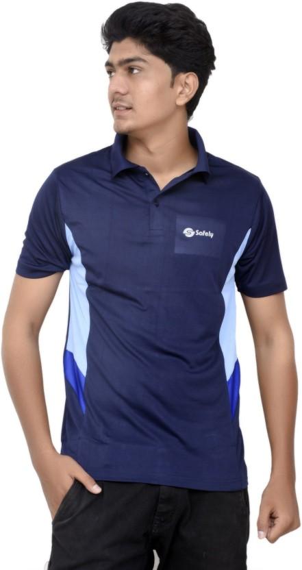 JG FORCEMAN Solid Men Polo Neck Dark Blue T-Shirt