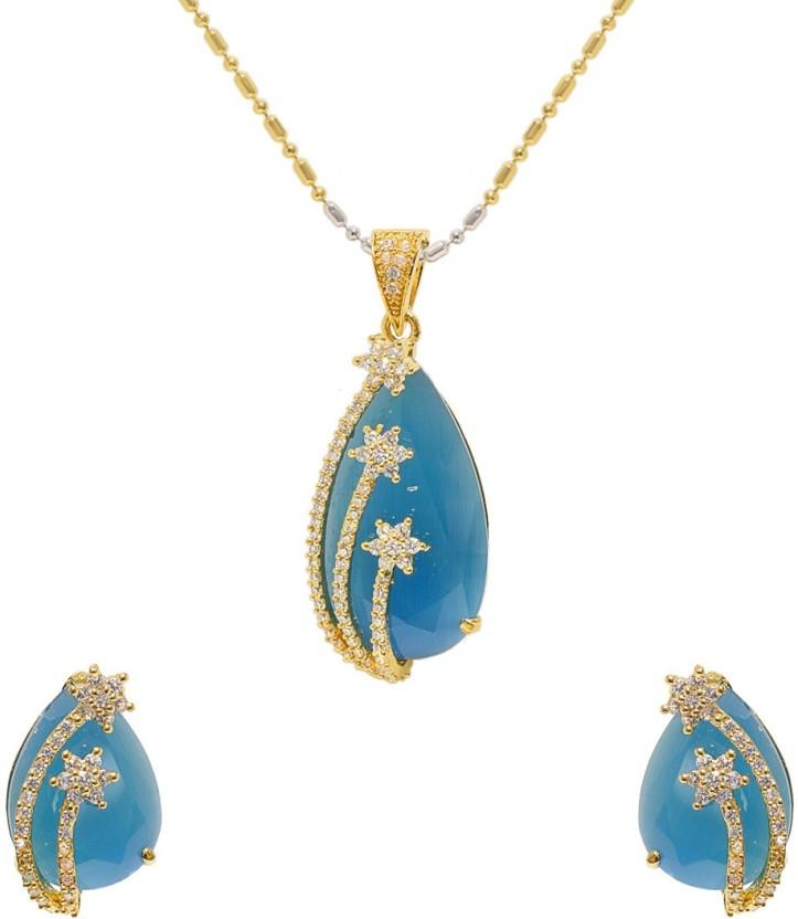 Jewellerkaka Blue Stone American Diamond Pendant Set Copper Cubic Zirconia, Crystal Copper Pendant Set