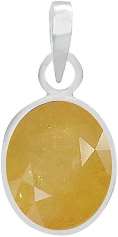 Freedom Certified Natural Yellow Sapphire (Pukhraj) Pendant 3.25 Ratti or 2.86 Carat for Male & Female Sterling Silver Pendant