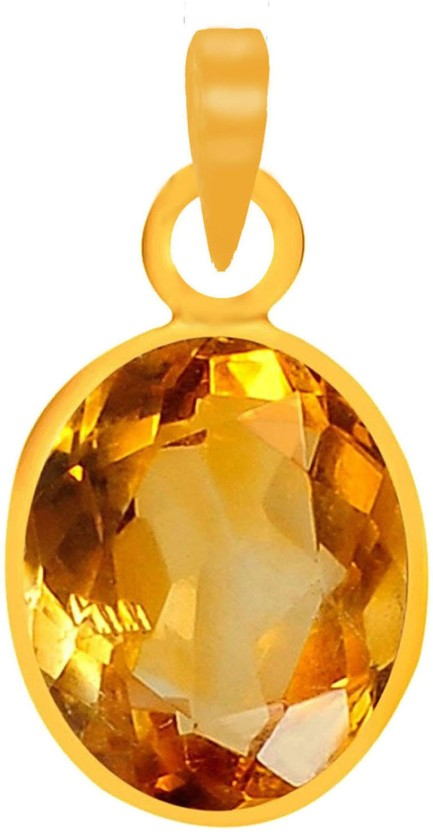 Freedom Certified Natural Citrine (Sunehla) Pendant 3.25 Ratti or 2.89 Carat for Male & Female Panchdhatu 22K Gold Plated Alloy Pendant