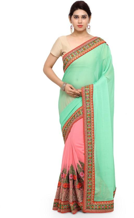 Sanku Fashion Embroidered, Self Design, Solid Bollywood Georgette, Chiffon Saree