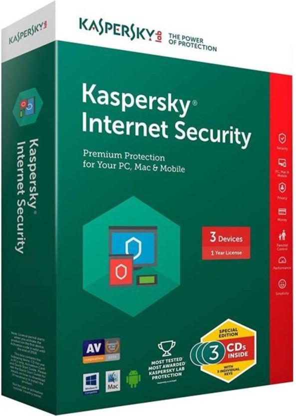 KASPERSKY Internet Security 2017 3Pc 1 Year(3cd+3key) Every Key 365days valid ( Windows OS Only)