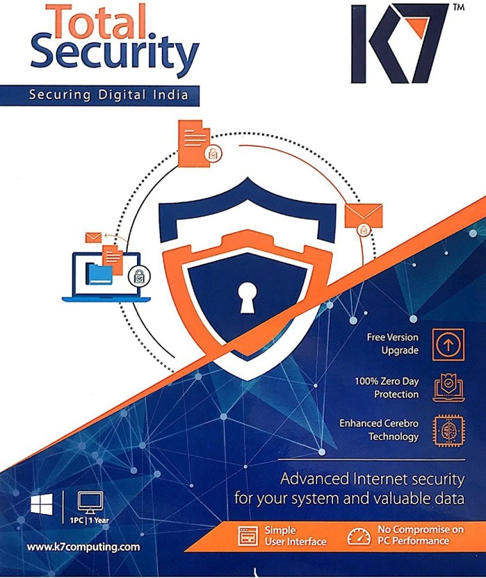 K7 Total Security 1 Pc 1 Year (Renewal Or Activation Serial Key Free Plastic Cd Cover