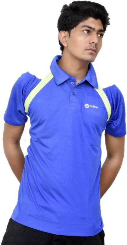 JG FORCEMAN Solid Men Polo Neck Blue T-Shirt