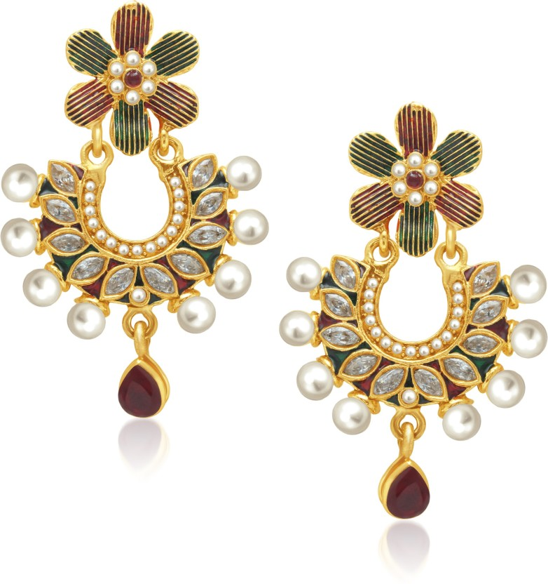 Divastri Glam Flower Drop Alloy Drop Earring
