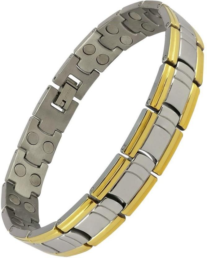 Magnaz Stainless Steel Titanium, Silver Bracelet