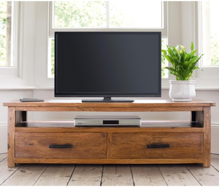 TimberTaste ERICA Corner Cabinet Solid Wood TV Entertainment Unit