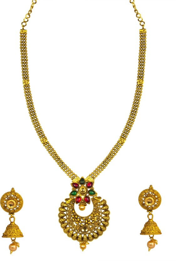 om jewells Kundan Chand Pendant Pearl Yellow Gold Plated Alloy Necklace Set