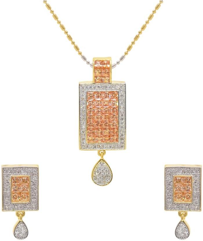 Jewellerkaka LCT Stone & American Diamond Pendant Set Copper Cubic Zirconia Copper Pendant Set
