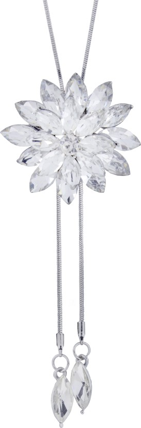 The Jewel Box Dual Flower Crystal Rhodium Plated Brass Necklace