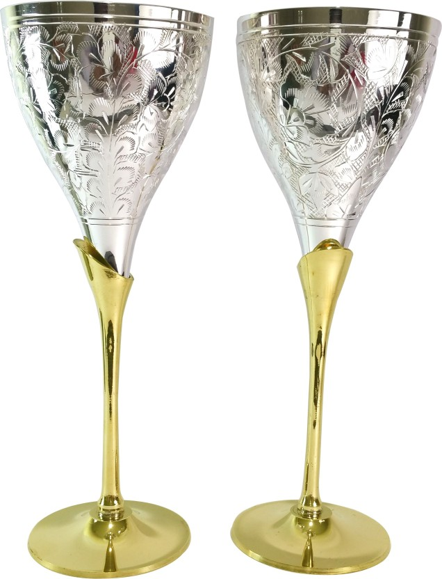 vaishya impex pvt. ltd. Silver Plated Brass Coupe Goblet Brass Mug