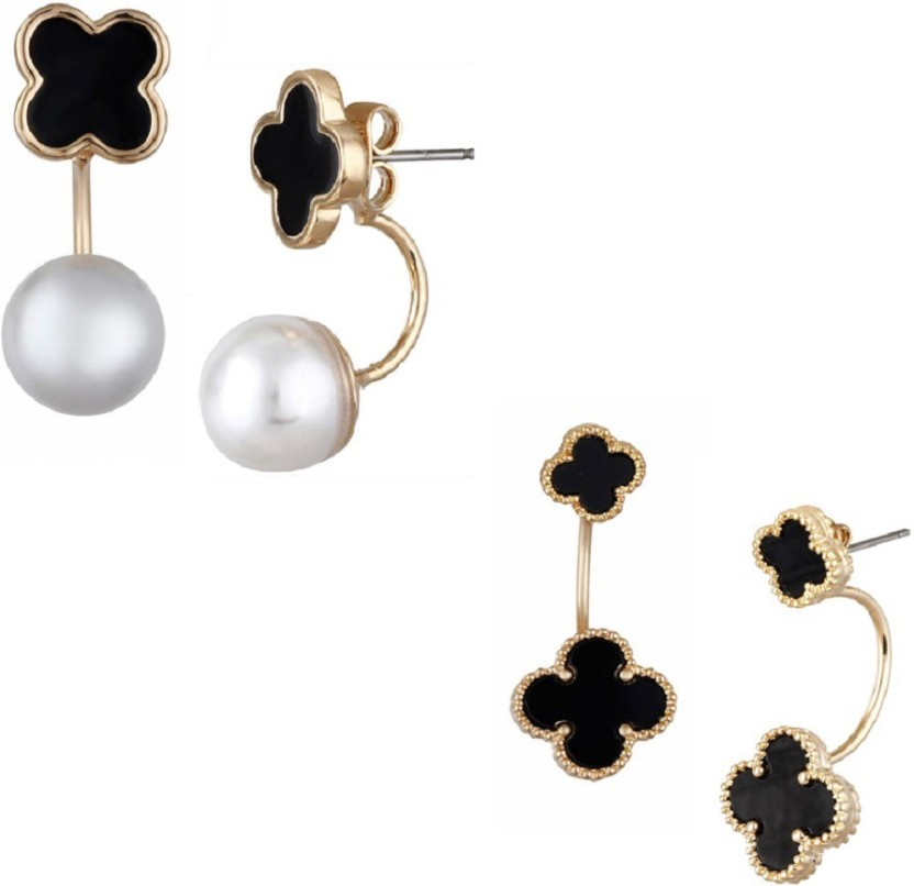 Aaishwarya Pearly And Black Clover Ear Jackets Combo (Pack of 2) Alloy Stud Earring