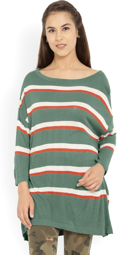 United Colors of Benetton. Striped Round Neck Casual Women Red, Green Sweater
