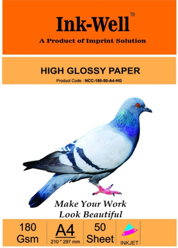 INK WELL Photo Glossy Paper A4 Size Size Castcoat - 180 GSM, 50 Sheets Unruled A4 Photo Paper