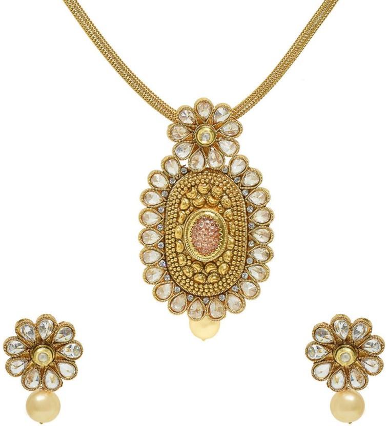 Jewellerkaka Reverse Stone Setting Kundan Border Copper Crystal, Pearl Copper Pendant Set