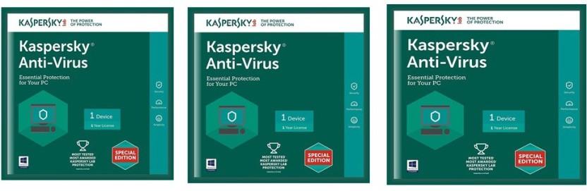 KASPERSKY Antivirus Software 2017 New Slim Pack 3Pc 1Year(3Cds,3 serial Numbers EveryKeys 365 Days Valid)