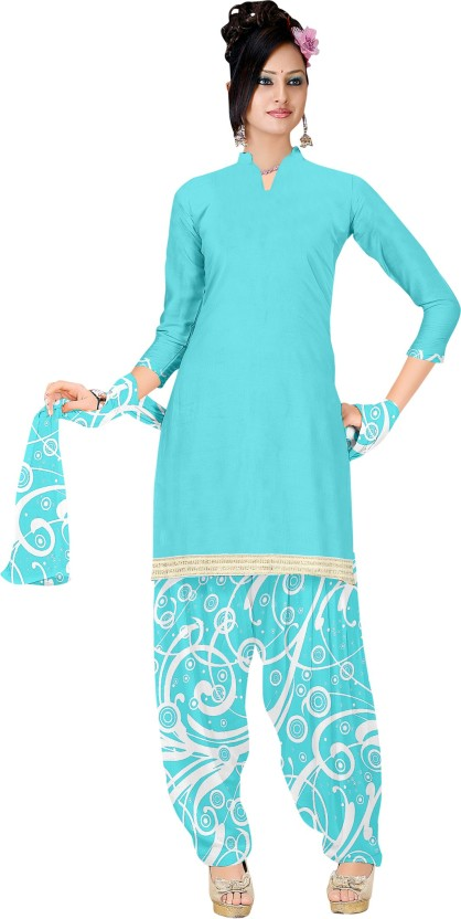 Divastri Cotton Linen Blend Printed Semi-stitched Salwar Suit Dupatta Material