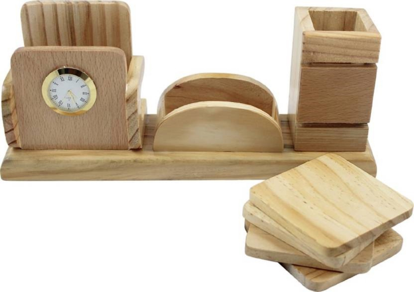 Gupta Fancy Store 3 Compartments Wooden Desk Organiser