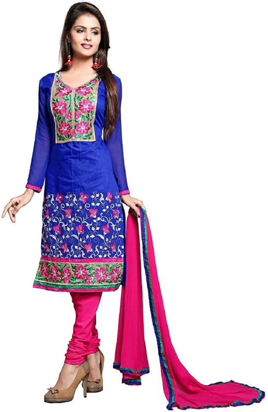 Active Cotton Embroidered Semi-stitched Salwar Suit Dupatta Material