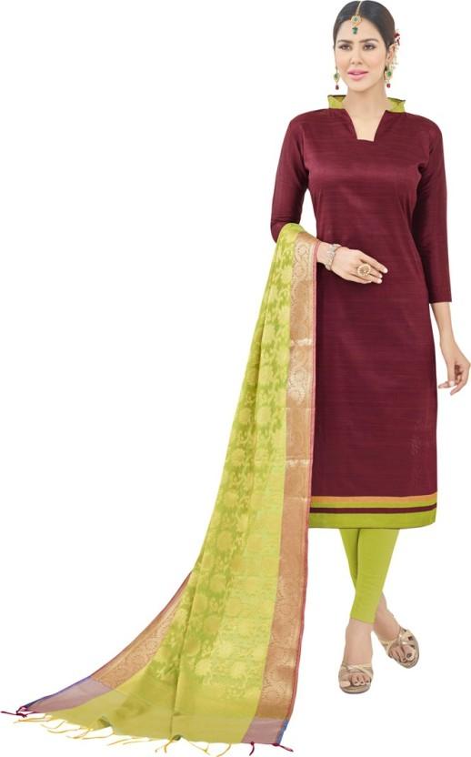 Manvaa Cotton Linen Blend Embroidered Semi-stitched Salwar Suit Dupatta Material