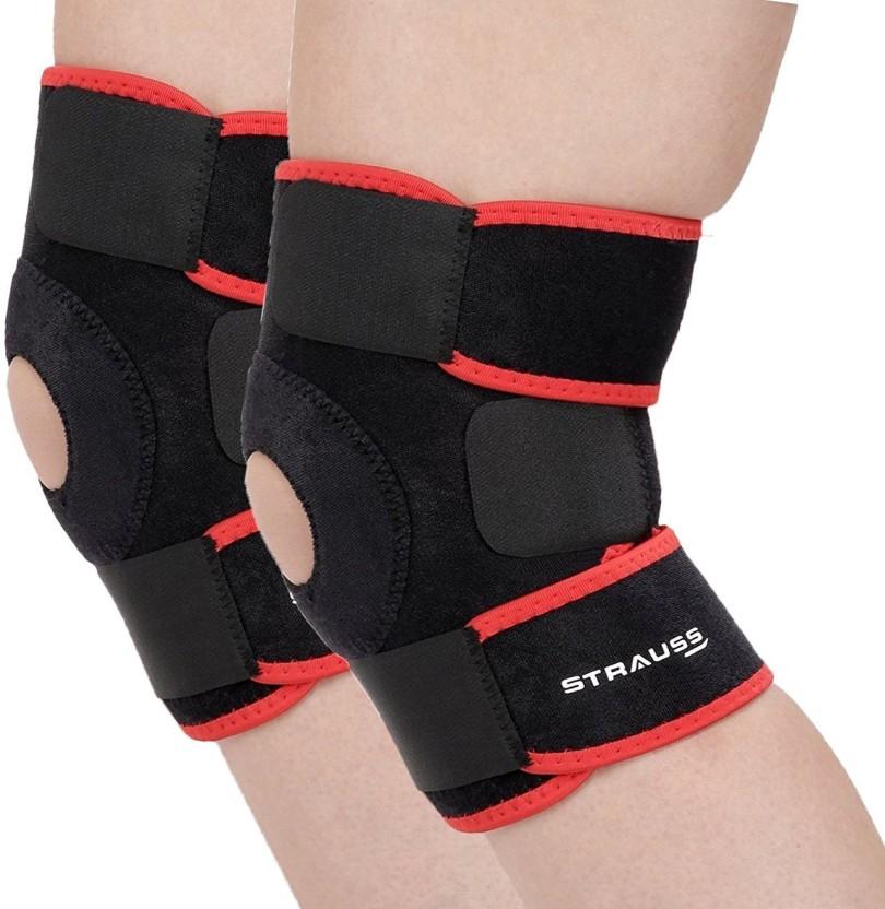 Strauss Patella (Pair) Knee Support (Free Size, Black, Red)