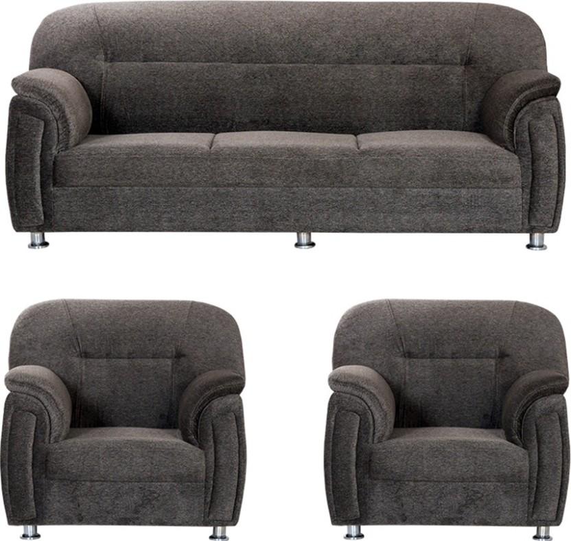Bharat Lifestyle New Sagittarius Fabric 3 + 1 + 1 Dark Brown Sofa Set