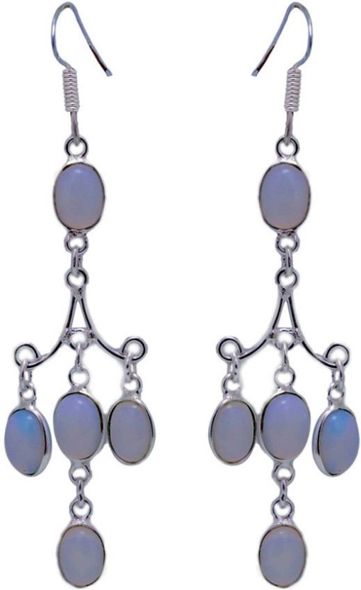 Gehna 925 Sterling Silver Oval Shape White Moonstone Studded Earrings Moonstone Sterling Silver Dangle Earring