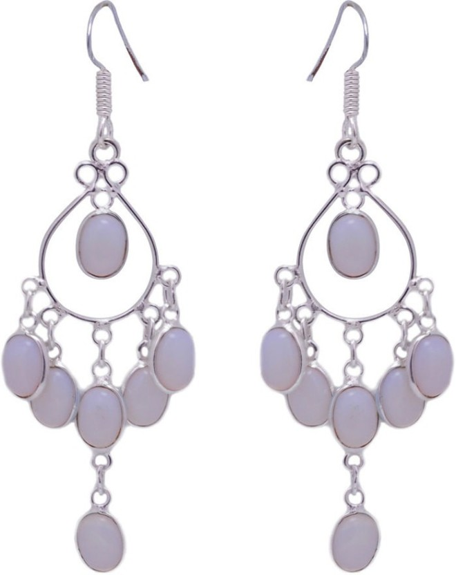 Gehna White Moonstone Oval Gemstone Studded Earrings In 925 Sterling Silver Moonstone Sterling Silver Dangle Earring