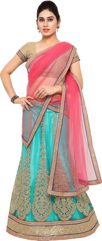 Anu Clothing Net Embroidered Semi-stitched Lehenga Choli Material