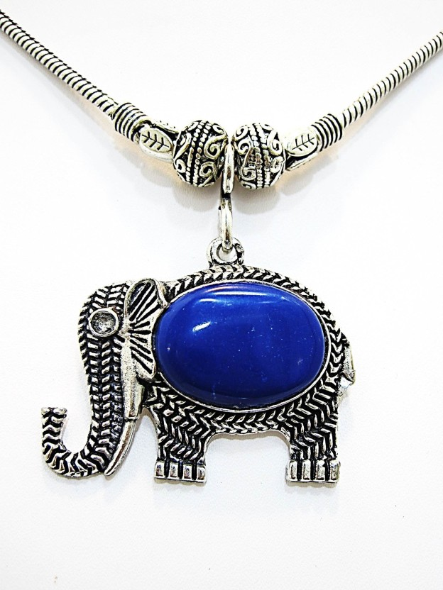 Muccasacra Very attractive Elephant design Sea BlueStone Alloy, Sterling Silver, Stone Necklace