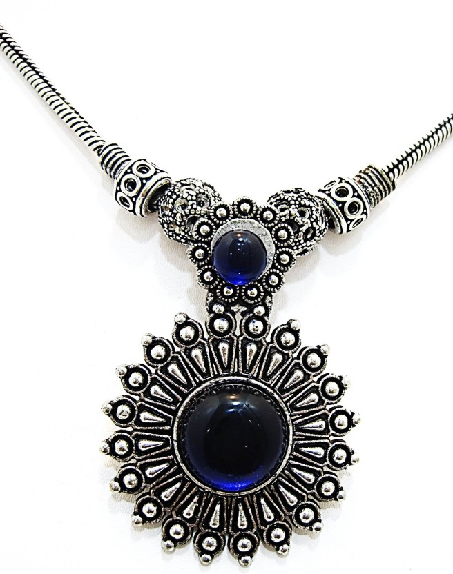 Muccasacra Majestic Ocean Blue Eyed Royal Look Stone, Alloy, Sterling Silver Necklace