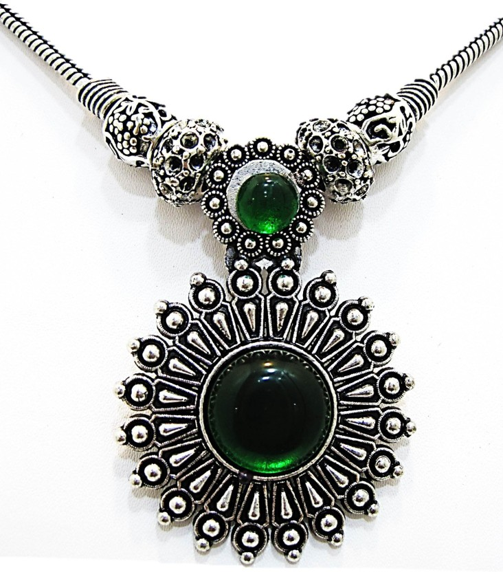 Muccasacra Most popular Emerald Algae Green Marigold Stone, Alloy, Sterling Silver Necklace