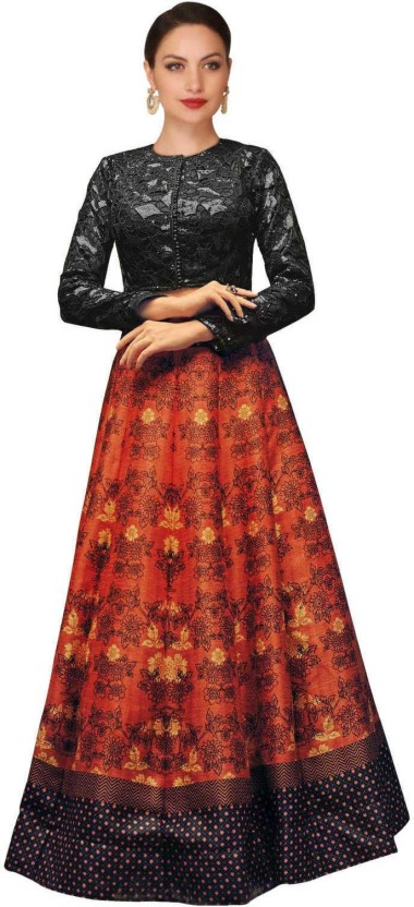 Zeel Clothing Silk Floral Print Semi-stitched Lehenga Choli Material, Lehenga Choli Material