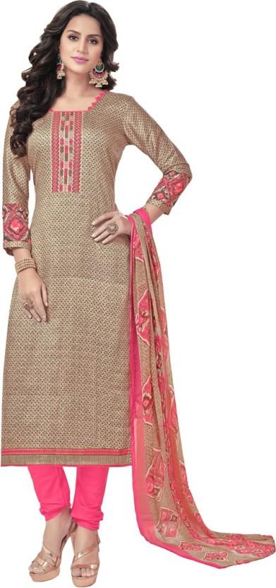 Divastri Cotton Striped, Printed, Embroidered Salwar Suit Dupatta Material